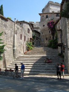 Up the steps towards the castle