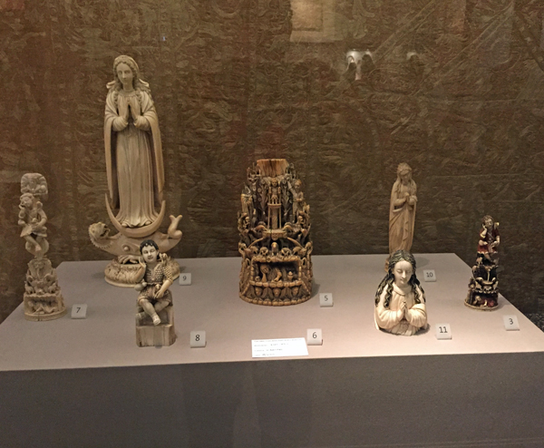 A display of Goan ivories, most dating from the mid-1600s, reflect the influence of Indian art on the Christian subject matter.