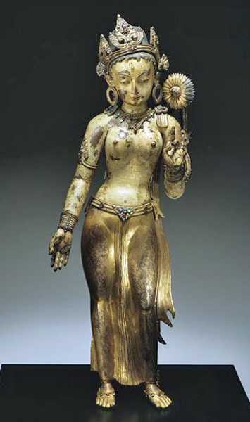 The goddess Tara was widely worshipped in Nepal and Tibet. The cult was stimulated by Atisa, the Indian teacher who played a major role in stimulating Buddhism in Tibet in the 11th century.
