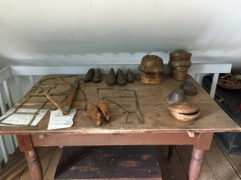 Some of the tools of Mrs Latrobe's trade - hat forms and a patern maker.