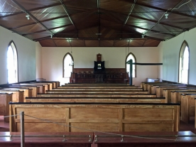 The interior speaks to the plain form of worship followed by members of the Scots Presbyterian Church.